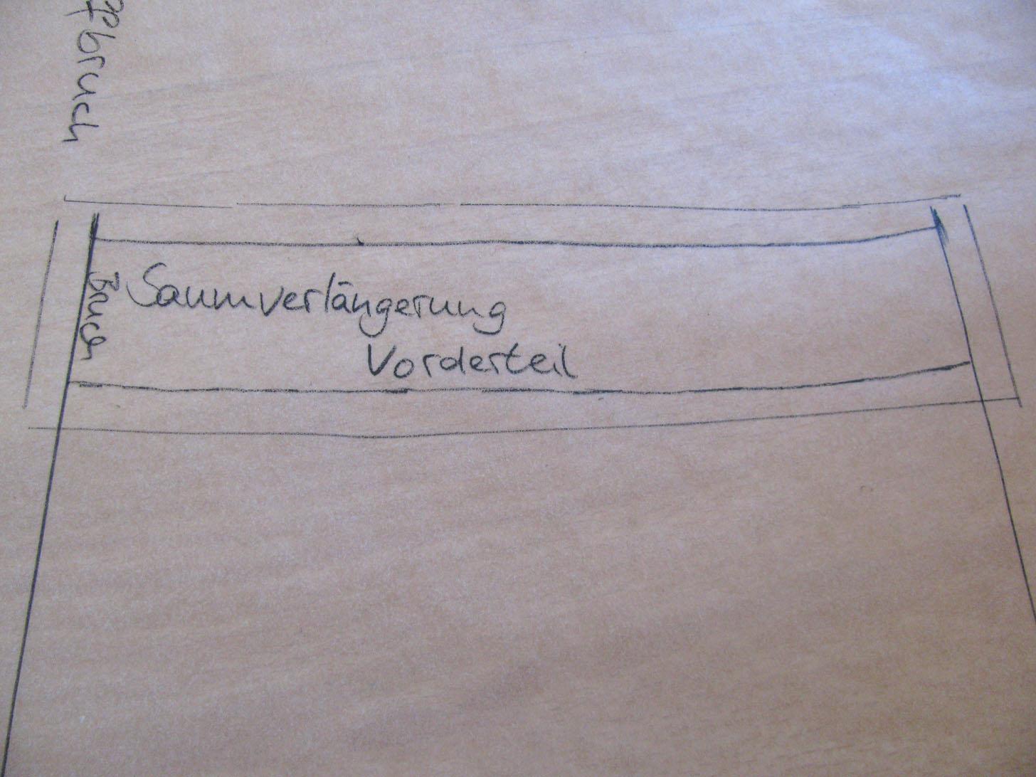 Zeichnung für Saumverlängerung am Vorderteil