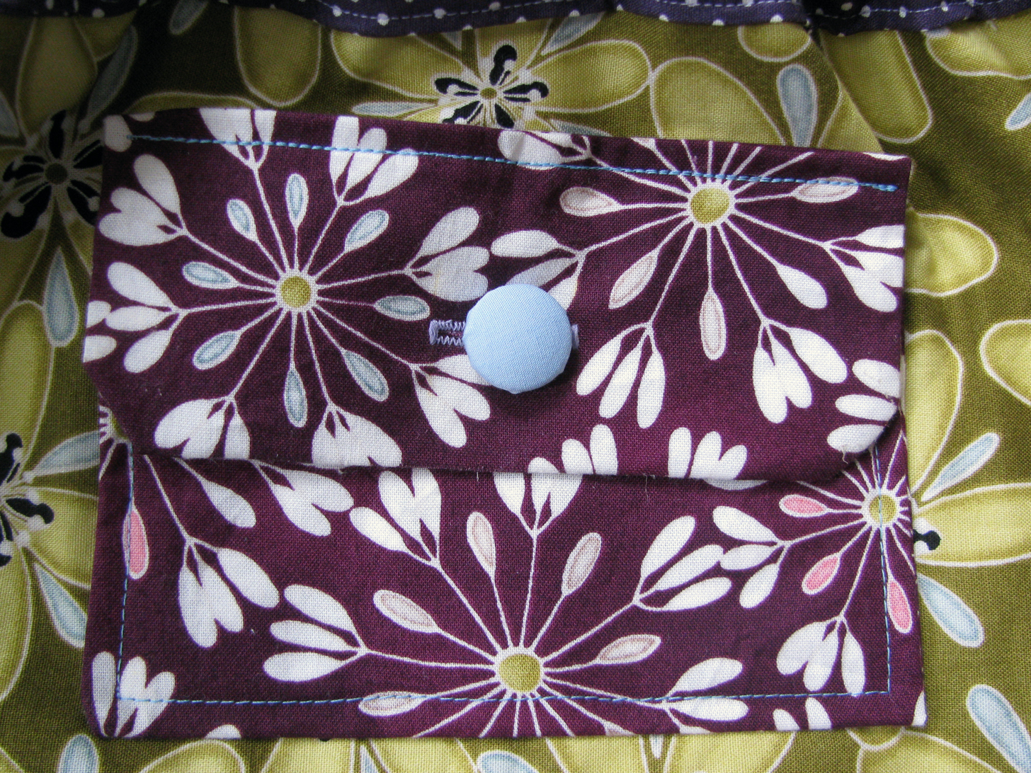 Augesetzte Tasche mit stoffbezogenem Knopf